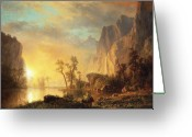 Cliff Painting Greeting Cards - Sunset in the Rockies Greeting Card by Albert Bierstadt