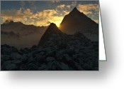 Photo-realism Digital Art Greeting Cards - Sunset in the Stony Mountains Greeting Card by Hakon Soreide