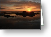 Pacific Art Greeting Cards - Sunset In Yachats Oregon Greeting Card by Kami McKeon