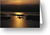 River Scenes Greeting Cards - Sunset Is Reflected On The Rippling Greeting Card by Raymond Gehman