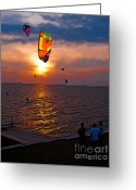Kites Greeting Cards - Sunset Kiteboarding on the Pamlico Sound Greeting Card by Anne Kitzman