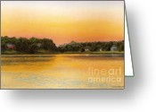 Woods Pastels Greeting Cards - Sunset Lake Greeting Card by Joan Swanson