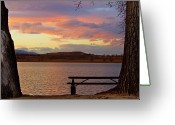 Colorado Photographers Greeting Cards - Sunset Lake Picnic Table View  Greeting Card by James Bo Insogna