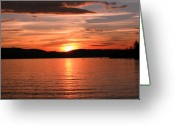 Sunset Posters Photo Greeting Cards - Sunset-Lake Waukewan 1 Greeting Card by Michael Mooney