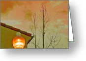 Contemporary Greeting Cards - Sunset Lantern Greeting Card by Ben and Raisa Gertsberg
