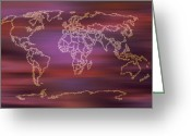Earth Map Greeting Cards - Sunset Light World Map digital art Greeting Card by Georgeta  Blanaru