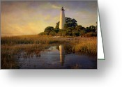 Marty Koch Greeting Cards - Sunset Lighthouse 3 Greeting Card by Marty Koch
