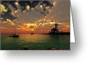 Sunset Posters Greeting Cards - Sunset Lighthouse Greeting Card by Jim Coe