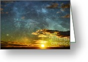 Western Sky Greeting Cards - Sunset Magical Greeting Card by Andrea Hazel Ihlefeld