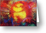 Fantasy Creatures Painting Greeting Cards - Sunset Mirage I Greeting Card by Lolita Bronzini