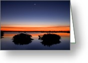 Still Water Greeting Cards - Sunset Moon Venus Greeting Card by Rich Franco