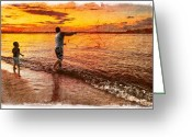 Shorts Greeting Cards - Sunset Netcasting Greeting Card by Debra and Dave Vanderlaan