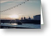 Christmas Lights Greeting Cards - Sunset Greeting Card by Nichola Sarah