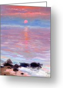 Evening Drawings Greeting Cards - Sunset ocean seascape oil painting Greeting Card by Svetlana Novikova