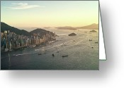 Aerial View Greeting Cards - Sunset Of Hong Kong Victoria Harbor Greeting Card by Jimmy LL Tsang