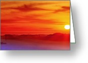 Alcatraz Greeting Cards - Sunset of the Bay 6x12 panorama Greeting Card by Laszlo Rekasi