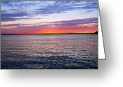 Stretched Canvas Greeting Cards - Sunset On Barnegat Bay I - Jersey Shore Greeting Card by Angie McKenzie