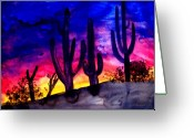 Scenary Greeting Cards - Sunset On Cactus Greeting Card by Mike Grubb