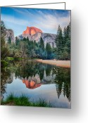 Merced County Greeting Cards - Sunset On Half Dome In Yosemite Greeting Card by Mimi Ditchie Photography