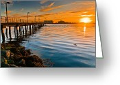 Del Norte Greeting Cards - Sunset on Humboldt Bay with Pier Greeting Card by Greg Nyquist