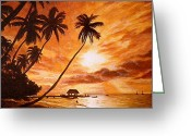 Tropical Beach Painting Greeting Cards - Sunset on Paradise Cove Greeting Card by Al  Molina