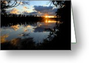Water Reflections Greeting Cards - Sunset on Polly Lake Greeting Card by Larry Ricker