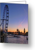 Big Ben Greeting Cards - Sunset on river Thames Greeting Card by Jasna Buncic