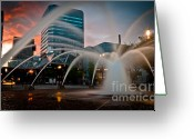 Reds Greeting Cards - Sunset on Salmon Street Greeting Card by Pensive Northwestern