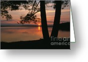 Silhouettes Greeting Cards - Sunset on Sister Bay Greeting Card by Sandra Bronstein