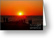 Surf Fishing Photo Greeting Cards - Sunset On Sunset Beach Greeting Card by Annie Zeno