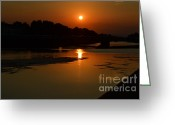 Sunset Greeting Cards Mixed Media Greeting Cards - Sunset on the Arno River Greeting Card by Kathleen Pio