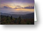 Cowee Greeting Cards - Sunset on the Blue Ridge Parkway Greeting Card by Rob Travis