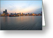 The Bund Greeting Cards - Sunset On The Bund Greeting Card by Photo by Svend Erik Hansen