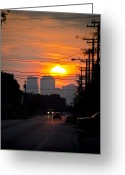 Tall Buildings Greeting Cards - Sunset on the City Greeting Card by Carolyn Marshall