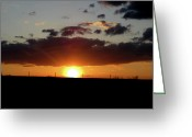 The Nature Of Sunsets Greeting Cards - Sunset On The Farm Greeting Card by Debra     Vatalaro
