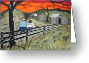 Board Fence Greeting Cards - Sunset on the fence Greeting Card by Jeffrey Koss