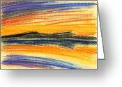 Ocean Landscape Pastels Greeting Cards - Sunset on the Lake Greeting Card by Hakon Soreide