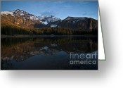 Reflected Tree Greeting Cards - Sunset on the Mountains Greeting Card by Jeff Kolker