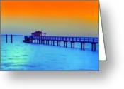 Florida Sunset Greeting Cards - Sunset on the Pier Greeting Card by Bill Cannon