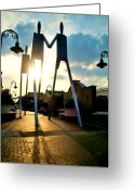 South Philadelphia Photo Greeting Cards - Sunset on the Strollers on South Street Bridge Greeting Card by Andrew Dinh