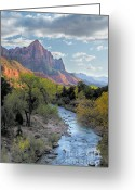 Dramatic Light Greeting Cards - Sunset on The Watchman Greeting Card by Sandra Bronstein
