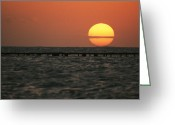 Key West Island Greeting Cards - Sunset On The Water At Key West Greeting Card by Bill Curtsinger