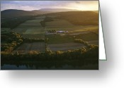 River Scenes Greeting Cards - Sunset Over A Farm On The Susquehanna Greeting Card by Raymond Gehman