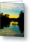 Claire Copley Greeting Cards - Sunset over a Lake Greeting Card by Pixie Copley
