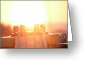 Digital Glass Art Greeting Cards - Sunset Over Bass Greeting Card by Ryan Benson