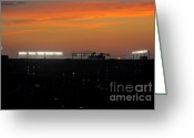 Baseball Game Greeting Cards - Sunset over Camden Yards Baltimore Greeting Card by Marianne Campolongo