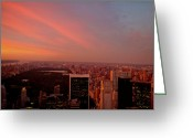 Manhattan Sunset Greeting Cards - Sunset Over Central Park and the New York City Skyline Greeting Card by Vivienne Gucwa