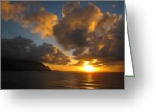 Hanalei Beach Greeting Cards - Sunset over Hanalei Bay Greeting Card by Johannah Larsen