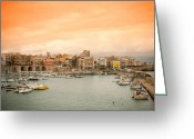 Crete Greeting Cards - Sunset over Heraklion Greeting Card by Gabriela Insuratelu