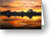 Featured Painting Greeting Cards - Sunset Over Jackson Lake and the Grand Tetons Greeting Card by Connie Tom